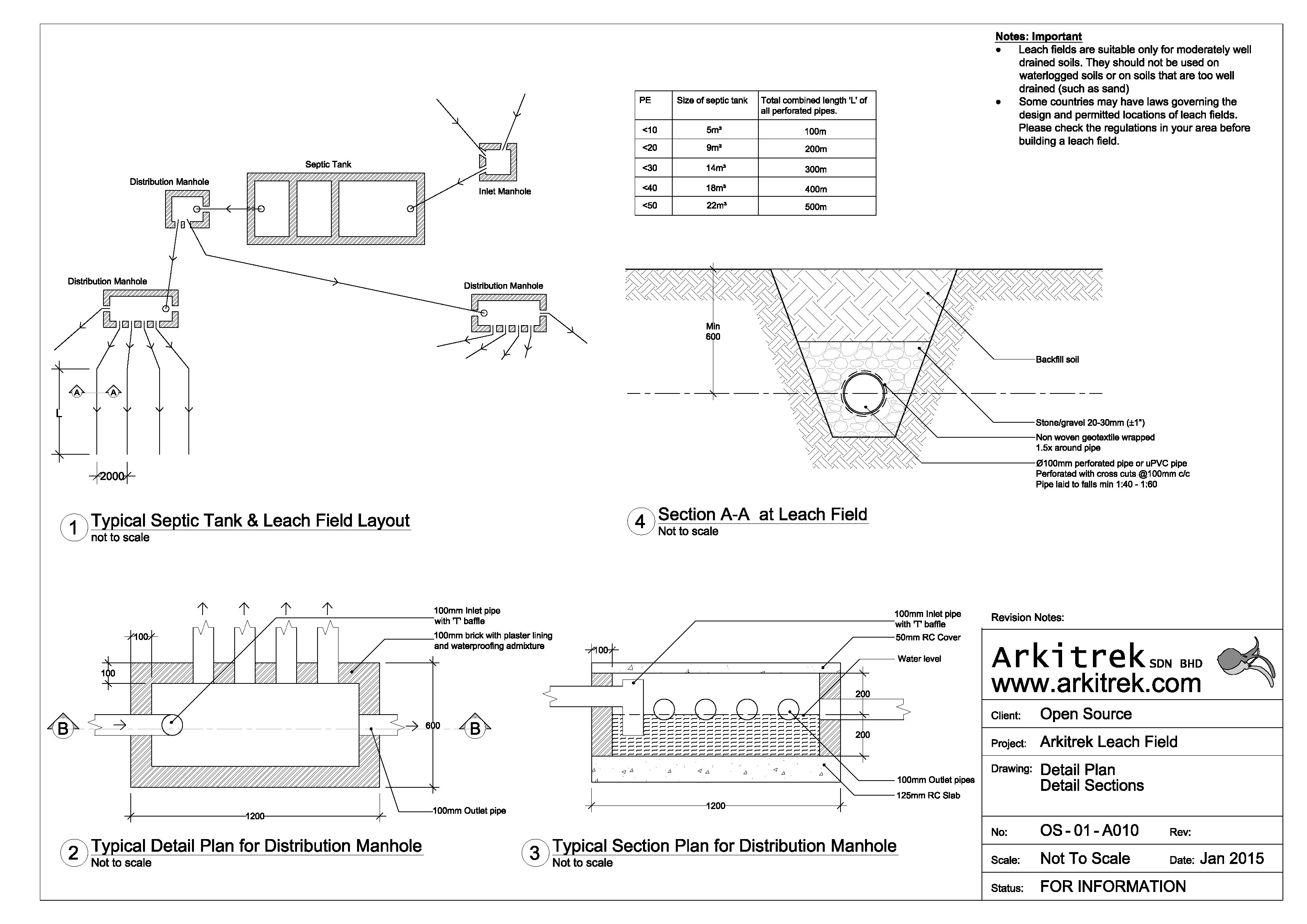 Leach field open source design drawing for First flush diverter plans