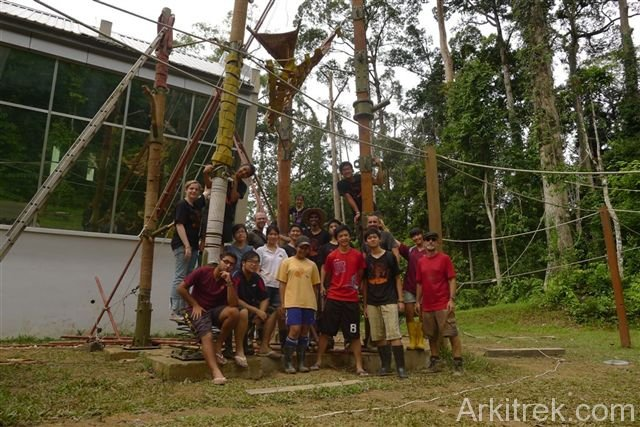 The team with the finished orangutan training structures