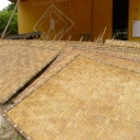 Completed bamboo weave panels at Camp Mantanani