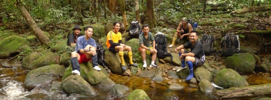 Imbak Rangers resting en-route to survey the site for the Kapur Research Station
