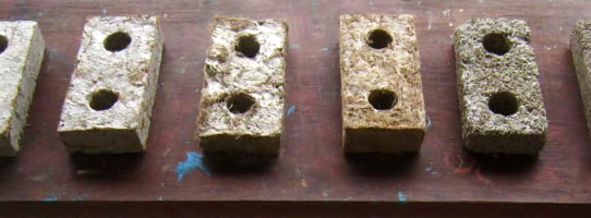 Bio-crete blocks experimental mixes for workability