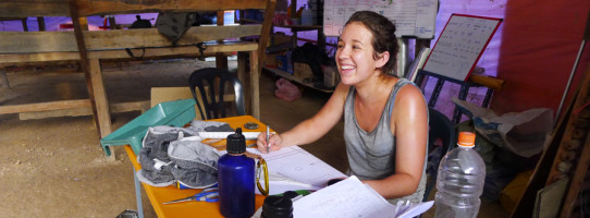 Arkitrek Intern, Kate Neilsen, in her site office at the SAFE Project, Kalabakan, Sabah.